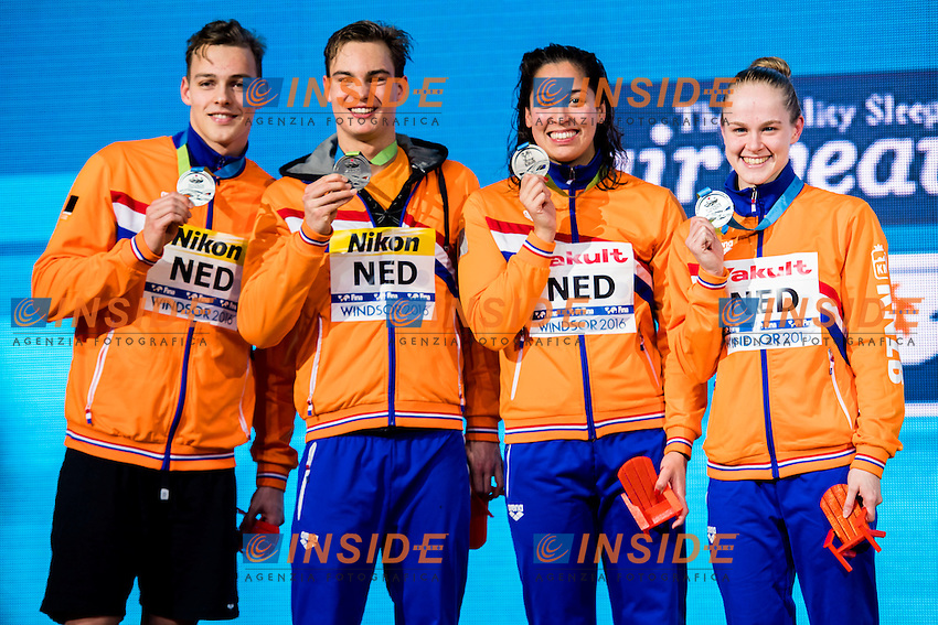 Netherlands NED Silver Medal <br /> PUTS Jesse (M) KORSTANJE Nyls (M) KROMOWIDJOJO Ranomi (W) DE WAARD Maaike (W) <br /> Mixed 4x50m Freestyle Relay<br /> 13th Fina World Swimming Championships 25m <br /> Windsor  Dec. 7th, 2016 - Day02 Finals<br /> WFCU Centre - Windsor Ontario Canada CAN <br /> 20161207 WFCU Centre - Windsor Ontario Canada CAN <br /> Photo &copy; Giorgio Scala/Deepbluemedia/Insidefoto