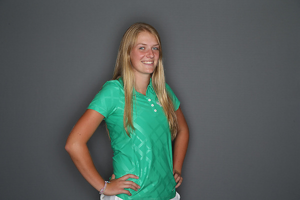 DENTON, TX - SEPTEMBER 4: Georgina Mundy sophomore of the North Texas Mean Green women's golf team of the North Texas Mean Green Women's Golf Team at Oakmont Country Club in Denton on September 4, 2013 in Denton, Texas. Photo by Rick Yeatts