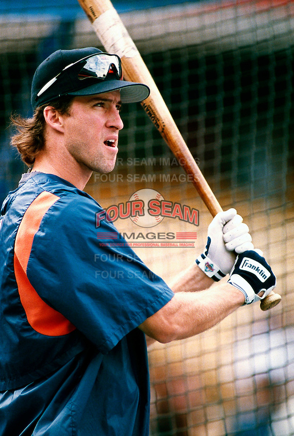 Steve Finley of the San Diego Padres during a game at Dodger Stadium in Los Angeles, California during the 1997 season.(Larry Goren/Four Seam Images)