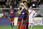 FC Barcelona's Luis Suarez (l) and Arda Turan celebrate goal during La Liga match. March 3,2016. (ALTERPHOTOS/Acero)