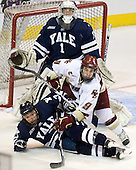 Ryan Rondeau (Yale - 1), Barry Almeida (BC - 9), Jimmy Martin (Yale - 2) - The Boston College Eagles defeated the Yale University Bulldogs 9-7 in the Northeast Regional final on Sunday, March 28, 2010, at the DCU Center in Worcester, Massachusetts.