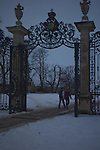 young couple head for the castle grounds at dusk south Moravia