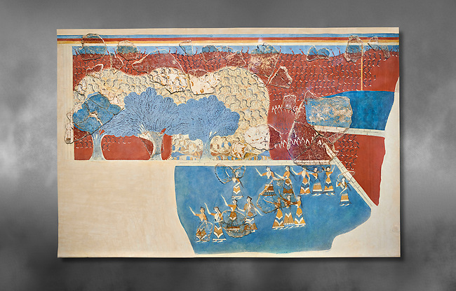 Minoan 'Sacred Grove and Dance Freco', wall art from Knossos Palace, 1600-1450 BC. Heraklion Archaeological Museum.   Grey Background. <br /> <br /> This Neopalatial period Minoan fredco comes from thecauseway of the west facade of the palace complex.
