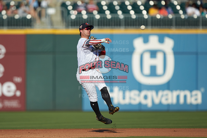 Charlotte Knights second baseman Eddy Alvarez (10) makes a throw to first base against the Durham Bulls at BB&T BallPark on July 4, 2018 in Charlotte, North Carolina. The Knights defeated the Bulls 4-2.  (Brian Westerholt/Four Seam Images)