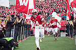 Wisconsin Badgers defensive back D'Cota Dixon (14) runs onto the field prior to an NCAA College Big Ten Conference football game against the Michigan Wolverines Saturday, November 18, 2017, in Madison, Wis. The Badgers won 24-10. (Photo by David Stluka)