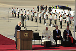 Israel's President Shimon Peres speaks at the Welcoming Ceremony for Pope Francis in Ben Gurion Airport