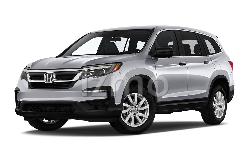 Stock pictures of low aggressive front three quarter view of a 2019 Honda Pilot LX 5 Door SUV