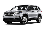 Stock pictures of low aggressive front three quarter view of a 2020 Honda Pilot LX 5 Door SUV