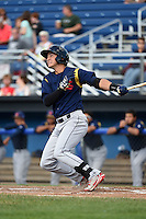 State College Spikes outfielder Jhohan Acevedo (13) hits a lead off home run during a game against the Batavia Muckdogs on June 22, 2014 at Dwyer Stadium in Batavia, New York.  State College defeated Batavia 10-3.  (Mike Janes/Four Seam Images)