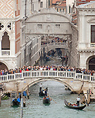 The Bridge of Sighs, which was built in around 1600 to serve as a passageway between the Palazzo Ducale and the prison, from the cruise ship Celebrity Equinox, in Venice, Italy on Sunday, October 27, 2013.  The bridge spans the Rio Del Palazzo, just a short distance from the Grand Canal. It earned its name from the sighs of prisoners being led to trial or to jail after their conviction.<br /> Credit: Ron Sachs / CNP