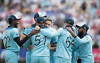 Huge celebrations on the fall of David Warner during Australia vs England, ICC World Cup Semi-Final Cricket at Edgbaston Stadium on 11th July 2019