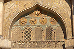 Detailed carvings on the facade of Saint Marks Basilica Venice