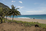 Hawaii: Molokai, beach at Kaulaupapa .Photo himolo153-71911.Photo copyright Lee Foster, www.fostertravel.com, lee@fostertravel.com, 510-549-2202