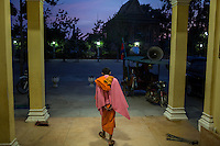 December 09, 2013 - Phnom Penh, Cambodia. Monk in the early morning during a 10 day Human Rights march through the country. © Nicolas Axelrod / Ruom