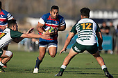 Sailosi Vatubua takes on Logan Fonoti and Roni Wright. Counties Manukau Premier Club Rugby 'Game of the Week' between Ardmore Marist and Manurewa played at Bruce Pulman Park Papakura or Saturday May 4th 2019. Ardmore Marist won the game 34 - 25 after leading 21 - 6 at halftime. <br /> Photo by Richard Spranger.