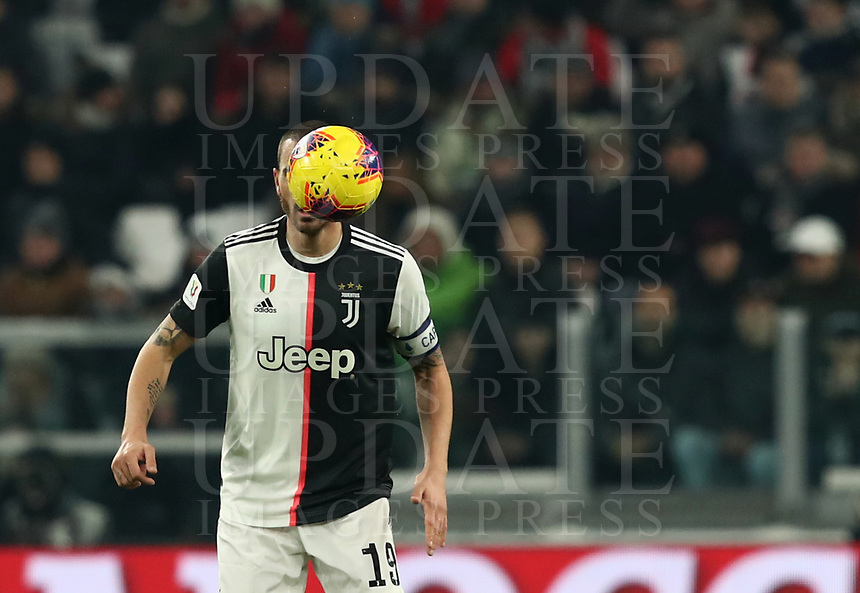 Calcio, Coppa Italia round 8 : Juventus - AS Roma, Turin, Allianz Stadium, January 22, 2020.<br /> Juventus' captain Leonardo Bonucci in action during the Italian Cup football match between Juventus and Roma at the Allianz stadium in Turin, January 22, 2020.<br /> UPDATE IMAGES PRESS/Isabella Bonotto