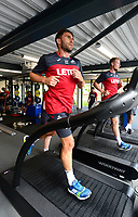 Swansea City's Angel Rangel in the gym on his first day back for the new season.