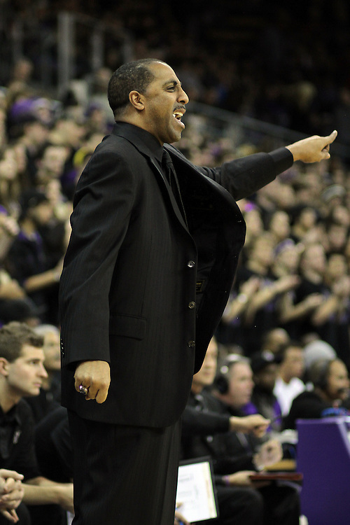 Lorenzo Romar instructs his team during the Huskies Pac-10 conference home game against arch-rival Washington State at Bank of America Arena in Seattle, Washington, on January 30, 2010.