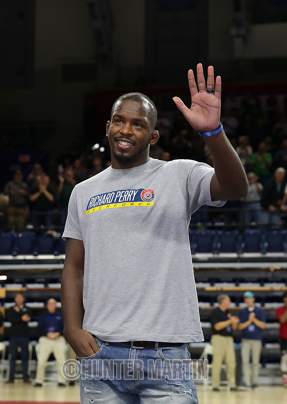 PHILADELPHIA, PA - NOVEMBER 18: USA freestyle wrestler Richard Perry waves to the crowd during his first public appearance, since suffering a brain injury during a training accident, at the Keystone Classic on November 18, 2018 at The Palestra on the campus of the University of Pennsylvania in Philadelphia, Pennsylvania. (Photo by Hunter Martin/Getty Images) *** Local Caption *** Richard Perry