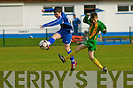 Michael Casey Killarney Athletic shoots at goal under pressure from Brian Fitzgerald Ballingarry during their FAI cup clash in Woodlawn on Saturday