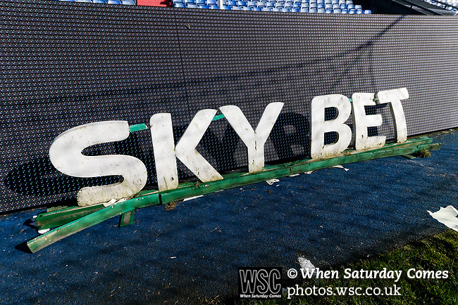 A weatherbeaten Sky bet sign at Boundary Park. Oldham v Portsmouth League 1