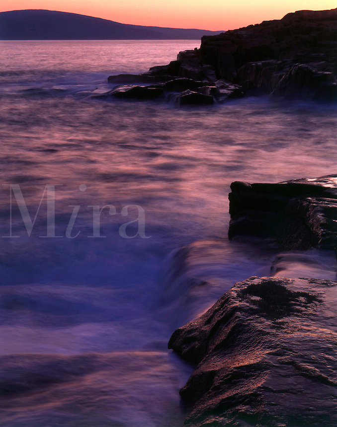 Shoreline at Schoodic Point on the Atlantic Ocean at Acadia N.P., Maine. Acadia National Park, Maine.