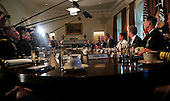 United States President Barack Obama meets with Combatant Commanders and Joint Chiefs of Staff with Vice President Joe Biden in the Cabinet Room of the White House, in Washington, DC, April 5, 2016. <br /> Credit: Aude Guerrucci / Pool via CNP