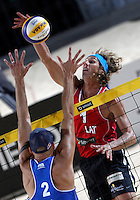 Phil Dalhausser, of the United States, in action against Latvia's<br /> Aleksandrs Samoilovs during the men's final match between Usa and Latvia at the Beach Volleyball World Tour Grand Slam, Foro Italico, Rome, 23 June 2013. USA defeated Latvia 2-0.<br /> UPDATE IMAGES PRESS/Isabella Bonotto