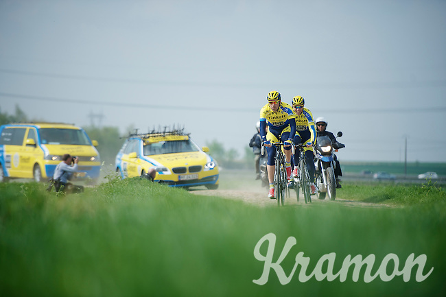 Team Tinkoff SAXO over sector 12: Pavé d'Orchies<br /> <br /> 2014 Paris-Roubaix reconnaissance
