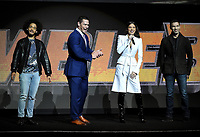 LAS VEGAS, NV - APRIL 25: (L-R) Actors Jorge Lendeborg Jr., John Cena, Hailee Steinfeld and director Travis Knight onstage during the Paramount Pictures presentation at CinemaCon 2018 at The Colosseum at Caesars Palace on April 25, 2018 in Las Vegas, Nevada. (Photo by Frank Micelotta/PictureGroup)