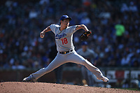SAN FRANCISCO, CA - SEPTEMBER 28:  Kenta Maeda #18 of the Los Angeles Dodgers pitches against the San Francisco Giants during the game at Oracle Park on Saturday, September 28, 2019 in San Francisco, California. (Photo by Brad Mangin)