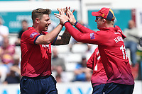 Matt Coles of Essex celebrates taking the wicket of Harry Brook during Essex Eagles vs Yorkshire Vikings, Royal London One-Day Cup Play-Off Cricket at The Cloudfm County Ground on 14th June 2018