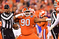 Charlotte, NC - DEC 2, 2017: Clemson Tigers defensive tackle Dexter Lawrence (90) celebrates a 3 down stop during ACC Championship game between Miami and Clemson at Bank of America Stadium Charlotte, North Carolina. (Photo by Phil Peters/Media Images International)