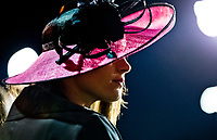 LOUISVILLE, KENTUCKY - MAY 03: A fan shows off a fashionable hat during Kentucky Derby and Oaks preparations at Churchill Downs on May 3, 2017 in Louisville, Kentucky. (Photo by Scott Serio/Eclipse Sportswire/Getty Images)