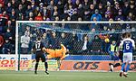 Kilmarnock score their second goal past Wes Foderingham