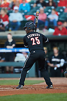 Josh Stowers (25) of the Louisville Cardinals at bat against the Notre Dame Fighting Irish in Game Eight of the 2017 ACC Baseball Championship at Louisville Slugger Field on May 25, 2017 in Louisville, Kentucky. The Cardinals defeated the Fighting Irish 10-3. (Brian Westerholt/Four Seam Images)