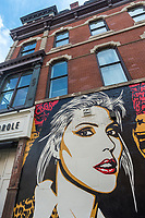 "New York, USA. 23rd Aug, 2017. Detail of a newly completed mural, by Shepard Fairey, in the East Village. The mural features Debbie Harry, lead singer for the rock group Blondie, who got their start in 1979 at CBGB which was located across the street. Fairy's work is also featured in Blondie's latest album ""Polinator"" which was released in May 2017 Credit: Stacy Walsh Rosenstock/Alamy Live News"