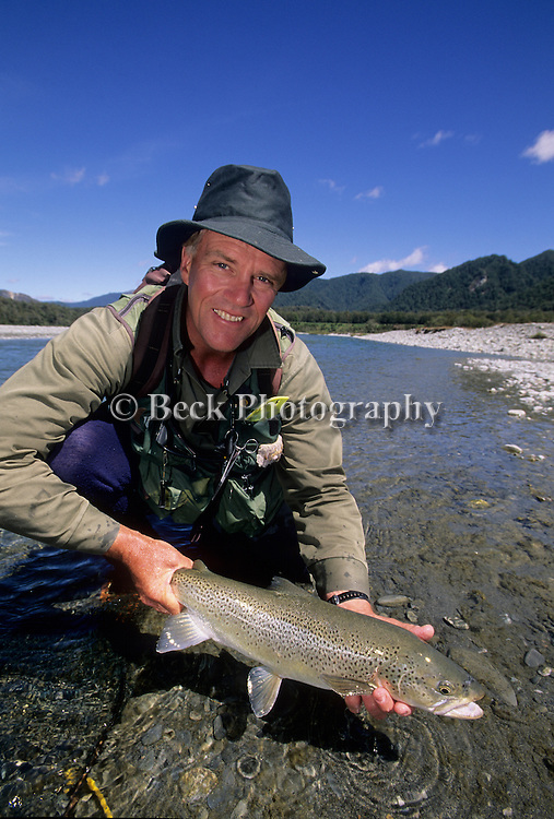 Scott Murray with a nice brown trout from Lake Rotoroa Lodge at the South Island of New Zealand.