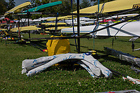 Lucerne, SWITZERLAND, 12th July 2018, Thursday General View, Boat Park, Riggers, wing style, FISA World Cup III, Lake Rotsee, © Peter SPURRIER,