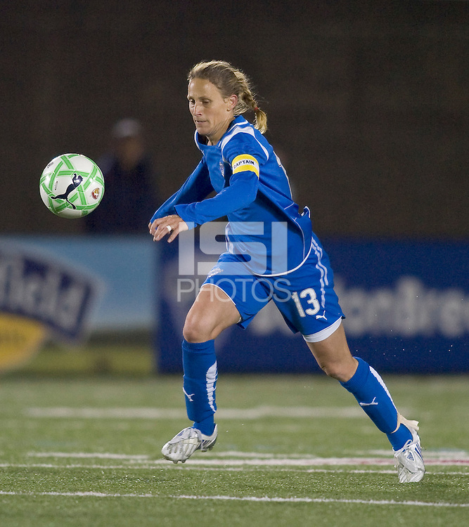 Boston Breakers midfielder-forward Kristine Lilly (13). The Boston Breakers defeated Saint Louis Athletica, 2-0, at Harvard Stadium on April 11, 2009.