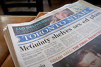 A Toronto Star newspaper lie on table in Toronto April 23, 2010. Owned by Toronto Star Newspapers Ltd., a division of Star Media Group, a subsidiary of Torstar Corporation, The Toronto Star is Canada's highest-circulation newspaper.