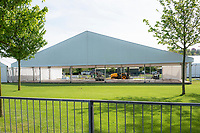 Henley on Thames. United Kingdom.   2018 Henley Royal Regatta, Henley Reach. <br />   <br /> Tents in various states of completion. Course Construction<br /> <br /> Thursday  03/05/2018<br /> <br /> [Mandatory Credit: Peter SPURRIER:Intersport Images]<br /> <br /> LEICA CAMERA AG  LEICA Q (Typ 116)  f5.6  1/400sec  35mm  42.6MB