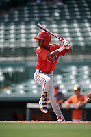 Philadelphia Phillies Julio Francisco (17) at bat during a Florida Instructional League game against the Baltimore Orioles on October 4, 2018 at Ed Smith Stadium in Sarasota, Florida.  (Mike Janes/Four Seam Images)