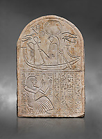 Ancient Egyptian stele dedicated to Re-Harakhty by draftsman Pay, limestone, New Kingdom, 19th Dynasty, (1292-1190 BC), Deir el-Medina, Schiaprelli cat 6144. Egyptian Museum, Turin. Grey background