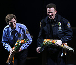 Michael Cera and Chris Evans during the the Broadway Opening Night Performance curtain call for 'Lobby Hero' at The Hayes Theatre on March 26, 2018 in New York City.
