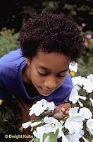 1Y08-063z  Land Snail - girl finding snail on flower