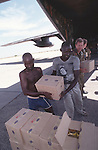 Unloading aid  boxes, Operation Restore Hope , Wajir, Somaliland, Kenya