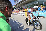 Nans Peters (FRA) AG2R La Mondiale in action during Stage 1 of the La Vuelta 2018, an individual time trial of 8km running around Malaga city centre, Spain. 25th August 2018.<br /> Picture: Ann Clarke | Cyclefile<br /> <br /> <br /> All photos usage must carry mandatory copyright credit (© Cyclefile | Ann Clarke)