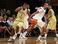 Georgia Tech's Iman Shumpert(1), left, steals the ball Virginia's Sylven Landesberg, right, during an NCAA college basketball game Wednesday Jan. 13, 2010 in Charlottesville, Va.  (Photo/Andrew Shurtleff)