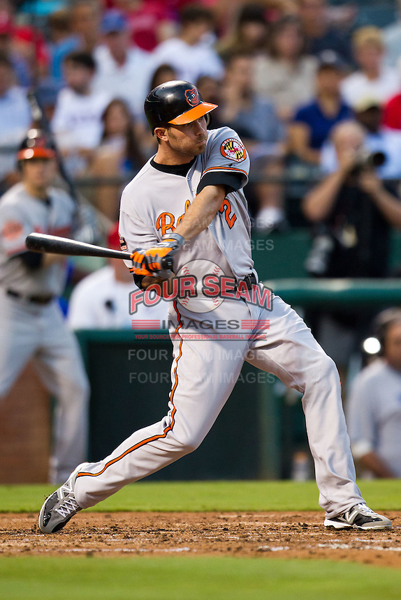 Baltimore Orioles shortstop JJ Hardy #2 swings during the Major League Baseball game against the Texas Rangers on August 21st, 2012 at the Rangers Ballpark in Arlington, Texas. The Orioles defeated the Rangers 5-3. (Andrew Woolley/Four Seam Images).